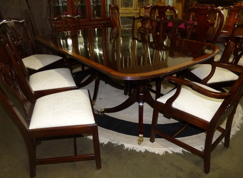 Stickley Mahogany Dining Table, 8 Chairs & China Cabinet - Marva\'s ...
