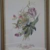 Custom Framed Linen Matting Floral Print - Tulip. High end designer brand used furniture and home decor at significantly low prices. Furniture Consignment.
