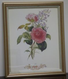Custom Framed Linen Matting Floral Print - Lilac. High end designer brand used furniture and home decor at significantly low prices. Furniture Consignment.