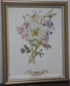 Custom Framed Linen Matting Floral Print - Columbine. Find high end designer brand used furniture and home decor at significantly low prices.