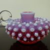 Fenton Pink Cranberry Opalescent Hobnail Candle Holder. High end designer brand used furniture and home decor at significantly low prices. Consignment.