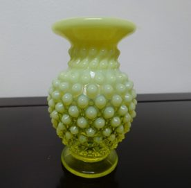 Fenton Topaz Opalescent Vaseline Glass Hobnail Holder. High end designer brand used furniture and home decor at significantly low prices. Used Consignment.
