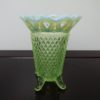 Fenton Art Glass Green Opalescent Vase. High end designer brand used furniture and home decor at significantly low prices. Used Furniture Consignment.