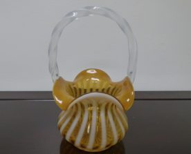 Fenton Glass Spiral optic Caramel Brown Opalescent Basket. High end designer brand used furniture and home decor at significantly low prices. Consignment.