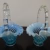 2 Fenton Art Opalescent Hobnail Blue Glass Baskets. High end designer brand used furniture at significantly low prices. Furniture Consignment.