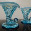 Fenton Art Hobnail Blue Elfin Boots Candle Holders. High end designer brand used furniture and home decor at significantly low prices. Consignment Furniture