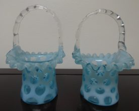 Fenton Art Opalescent Blue Dot Glass Baskets. High end designer brand used furniture and home decor at significantly low prices. Furniture Consignment.