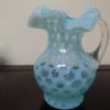 Fenton Art Opalescent Blue Dot Glass Syrup Pitcher. High end designer brand used furniture and home decor at significantly low prices. Furniture