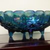 Vintage Blue Carnival Glass-Oval Garland Fruit Bowl