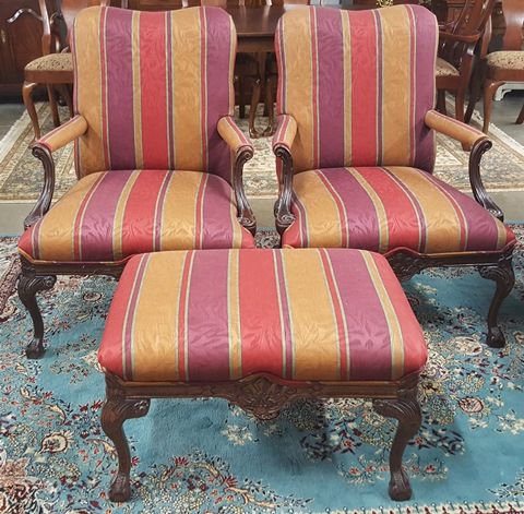 2 Antique Chairs & Ottoman