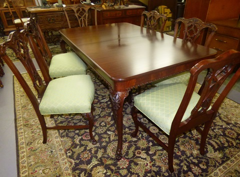 Antique Chittenden & Eastman Dining Table with 6 Chairs