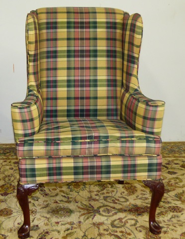 Plaid Wingback Designer Chair