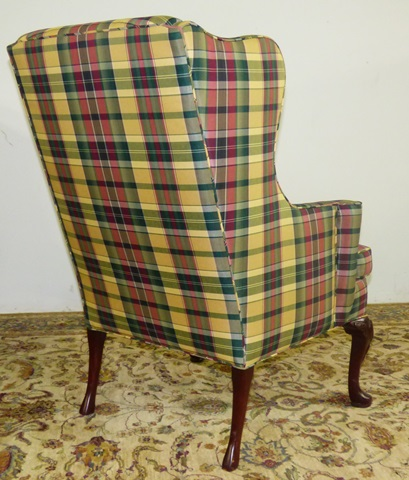 & Plaid Wingback Designer Chair - Marvau0027s PlaceMarvau0027s Place