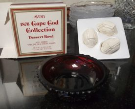 Avon 1876 Ruby Red Cape Cod Dessert Bowl with Soaps