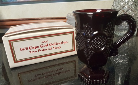 Avon 1876 Ruby Red Cape Cod Pedestal Mugs (Set of 2)