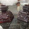Avon 1876 Ruby Red Cape Cod Candle Holders