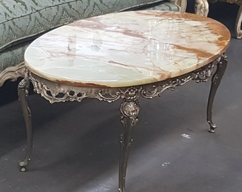 50s French Provincial Coffee Table with Marble Top Marvas