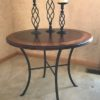 Round End Table with Leather Top