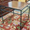 Square End Table with Leather Top