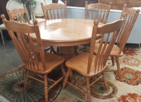 Amish Dining Table with 6 Chairs & 6 Leaves