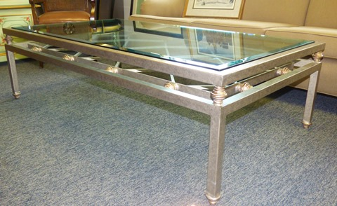 Custom Glass Top Wrought Iron Coffee Table