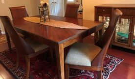 Exotic Dining Table with 4 Curved Chairs