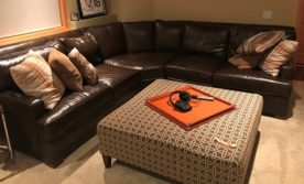 Century Brown Leather Sectional Sofa